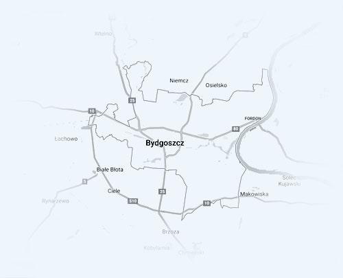 mapa strefy działalności wymiany opon w Bydgoszczy